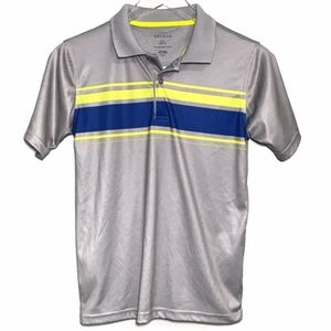 George Gray Blue Yellow Striped Polo Shirt A030085